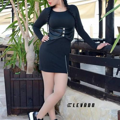 فستان اليفادو  خصر جلد (اسود )