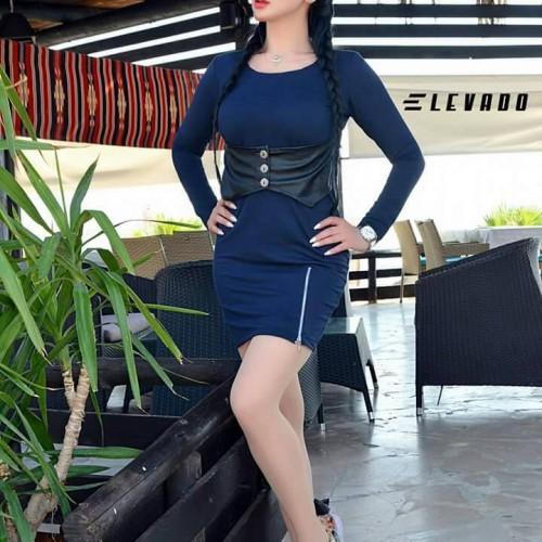 فستان اليفادو  خصر جلد (كحلي )