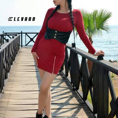 فستان اليفادو  خصر جلد (خمري )