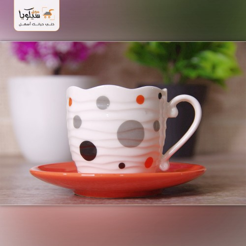 طقم فنجان قهوة منقط