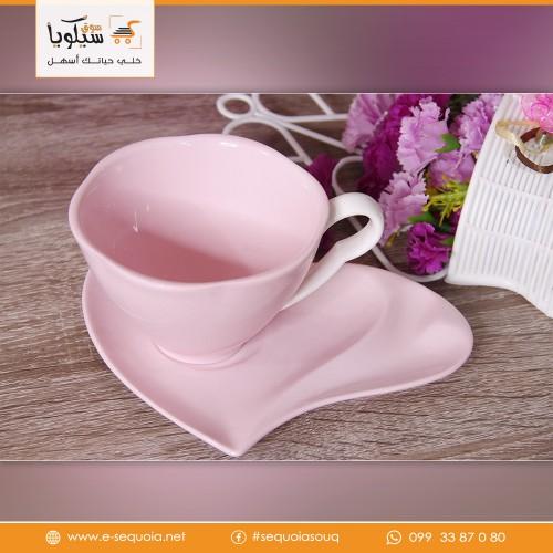 طقم فنجان شاي قلب زهر