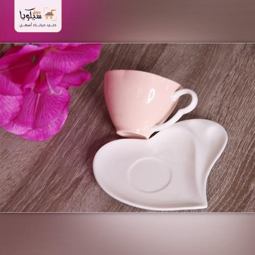 طقم فنجان شاي قلب